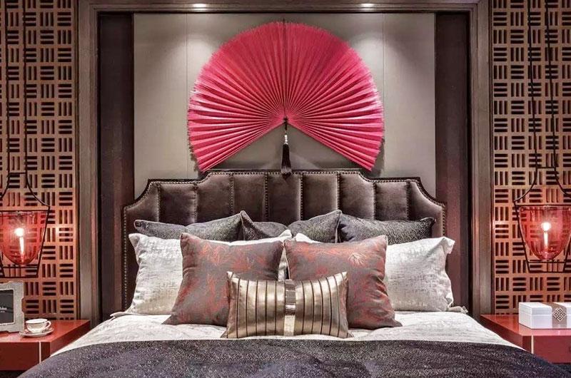 混搭风格样板房床头软包设计