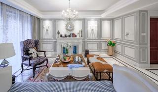 美式风格四室两厅装修客厅茶几图片