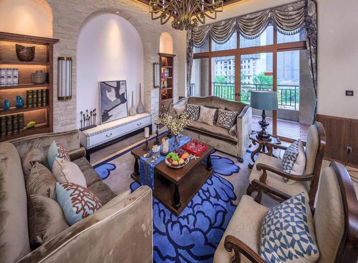 奢华古典美式客厅装饰效果图