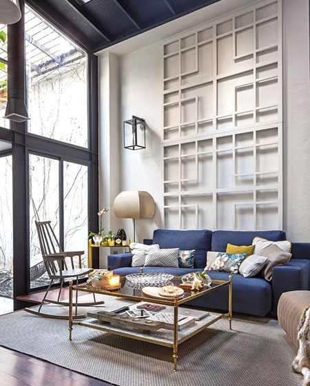工业风格客厅背景墙装饰图