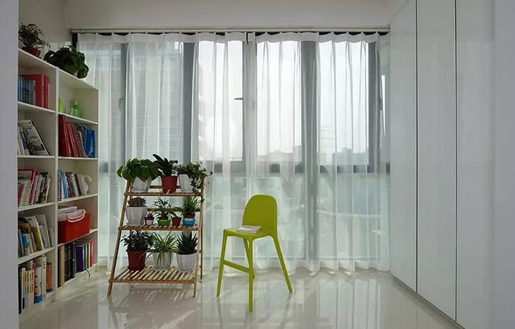 文艺田园风 封闭式阳台窗帘效果图