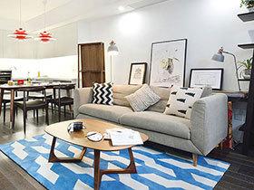 93平北欧风格两室两厅装修 蓝色假日