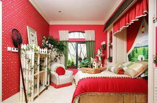 红色系卧室设计实景图