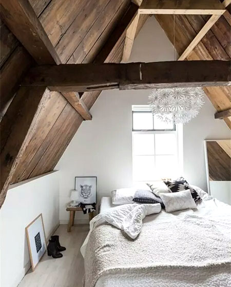 阁楼卧室木质吊顶设计图