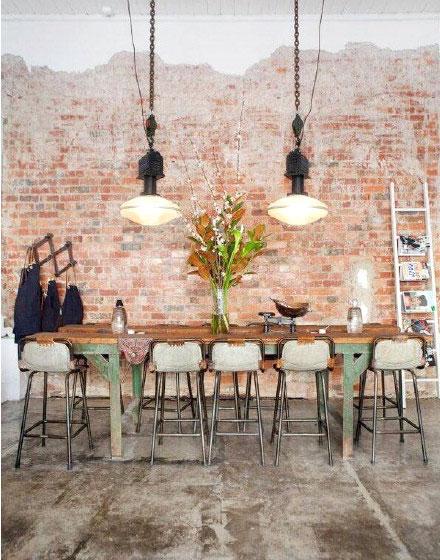 餐厅裸砖背景墙效果图