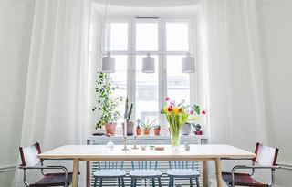 纯净浪漫北欧风 餐厅窗帘效果图