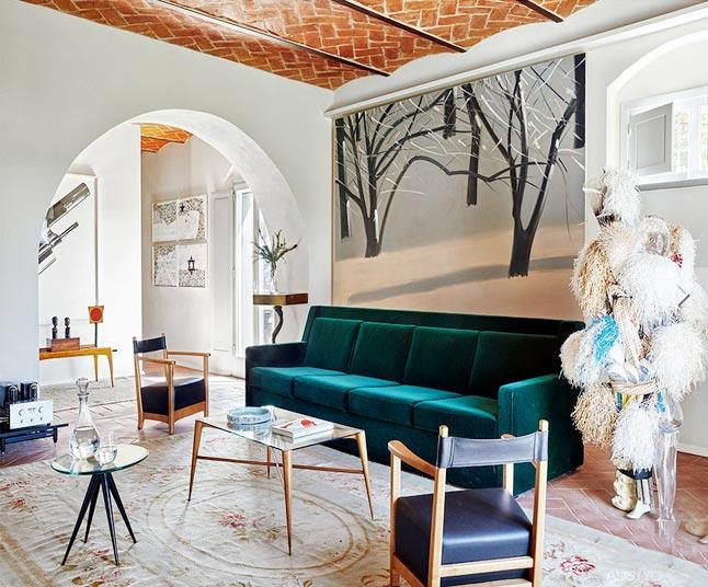 浪漫简欧 别墅客厅拱形隔断设计