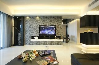 典雅新中式客厅 电视背景墙效果图