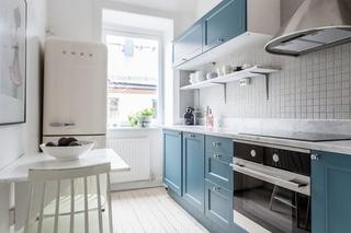 清新简洁北欧风 蓝色橱柜效果图