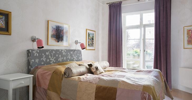 温馨简欧风卧室 紫色窗帘设计