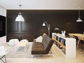 时尚黑白简洁欧式 小户型公寓效果图