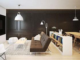 60平简约风格单身公寓效果图 魅力黑白棋