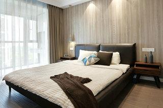 简中式卧室 原木背景墙效果图