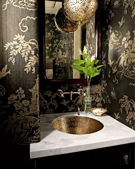 中式风格卫生间壁纸图片