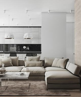 素色北欧风客厅 布艺沙发效果图