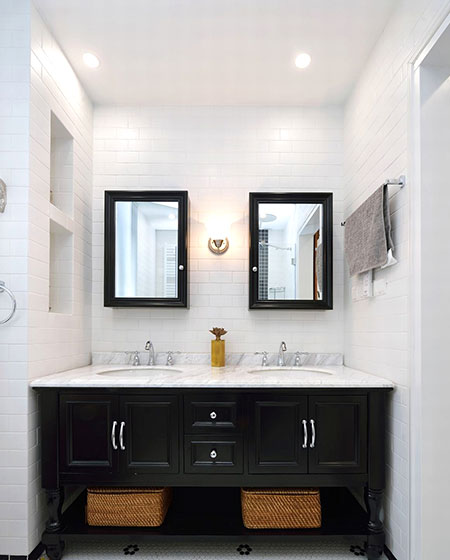 怀旧北欧风卫生间 黑白洗手台装修图