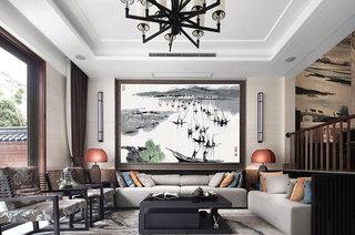 水墨典雅中式别墅客厅设计