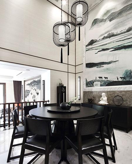 水墨中式别墅餐厅圆桌装饰图