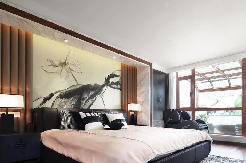 水墨典雅中式卧室效果图
