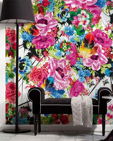 玄关花卉壁纸设计效果图