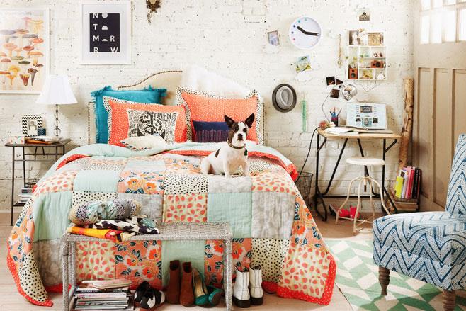 卧室清新 彩色床品设计图片