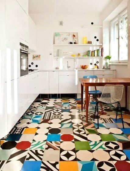 厨房彩色瓷砖地板设计图
