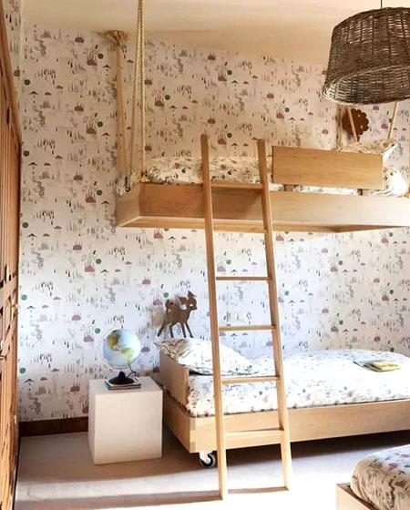 儿童房木质高低床设计装修