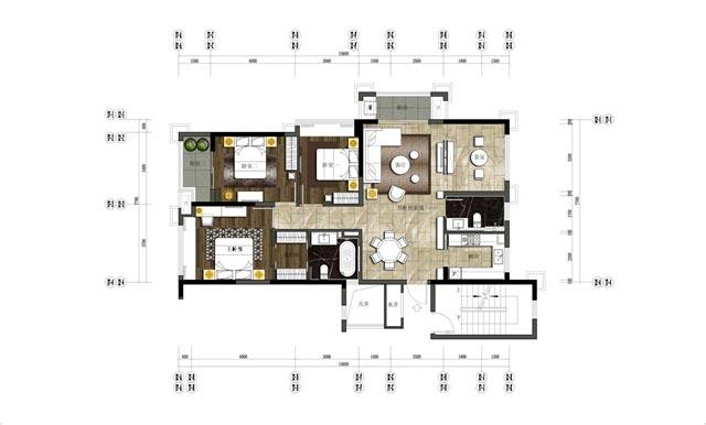 130㎡新中式三居平面图