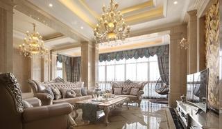 欧式风格三居室装修客厅吊顶图片