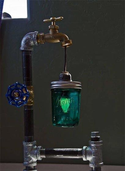 工业风水管灯摆放装饰图