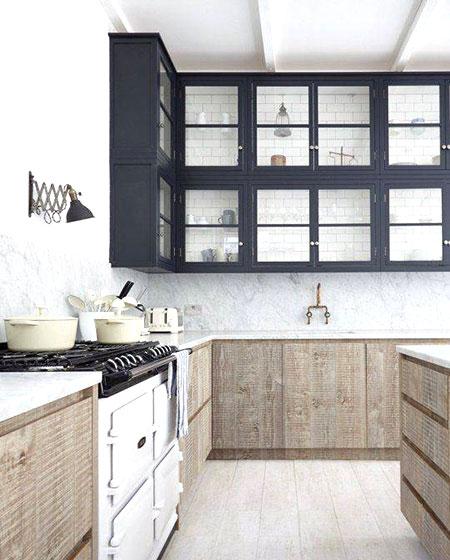 厨房黑色玻璃收纳柜效果图