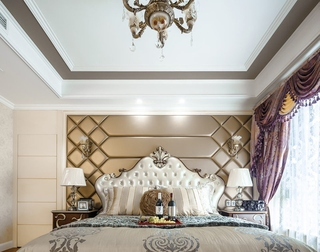 简欧风格公寓装修床头软包图片