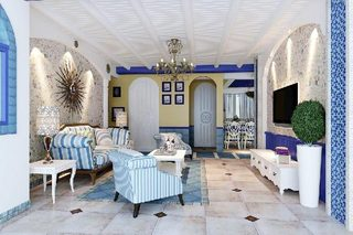 地中海客厅装修装饰效果图