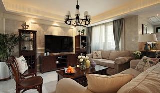美式风格三居室客厅沙发图片