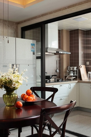 美式风格三居室厨房开放式装修