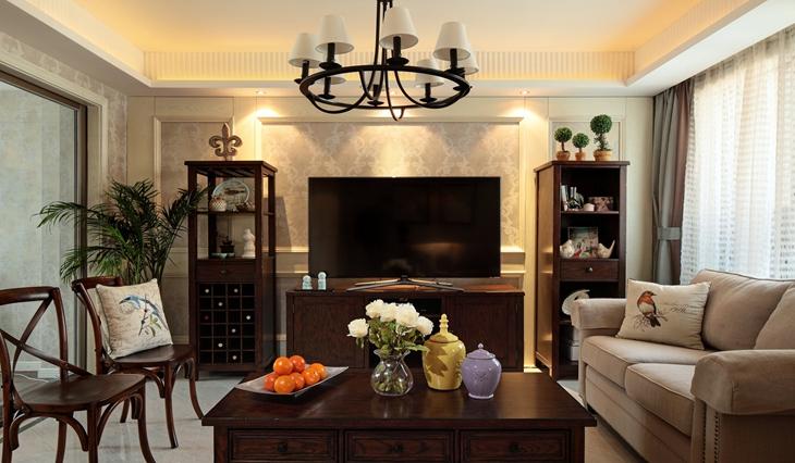 美式风格三居室客厅装修图