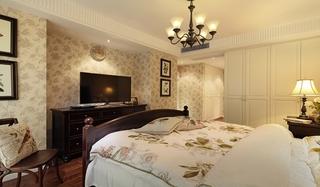美式风格三居室卧室壁纸设计图