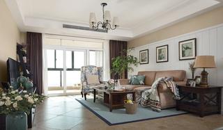 美式风格三居室客厅地板装修