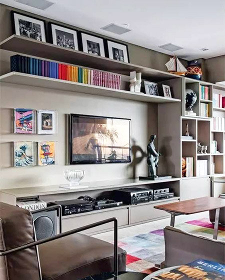 电视背景墙收纳设计效果图