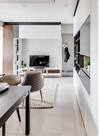 50㎡现代一居室公寓走廊效果图