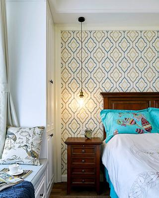 100平混搭美式公寓卧室飘窗设计图