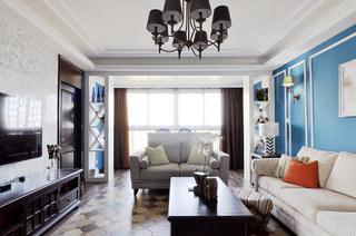 138平美式三居客厅沙发图片