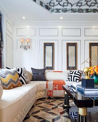 280平欧式古典样板房转角沙发设计