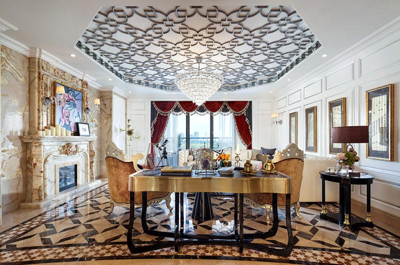 280平欧式古典样板房客厅吊顶装修图