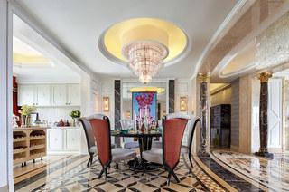 280平欧式古典样板房餐厅装潢设计