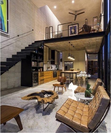 loft公寓布置实景图片