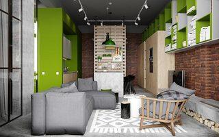 北欧混搭风挑高客厅 绿色墙面置物柜设计