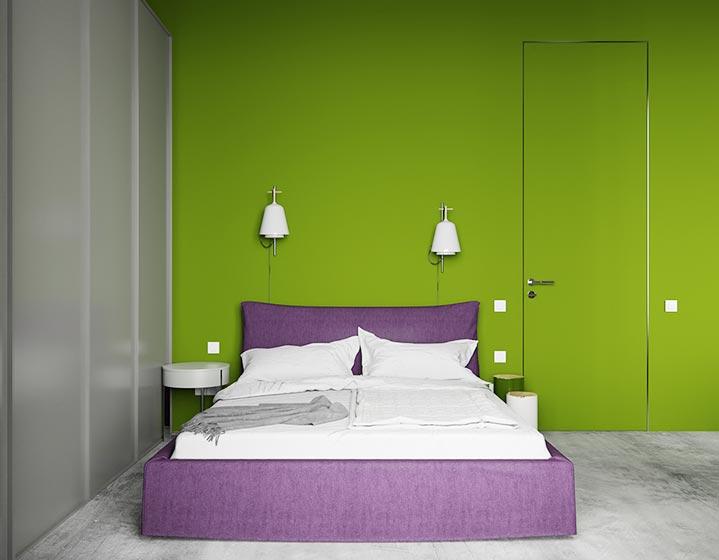 个性北欧风卧室 竹绿色背景墙设计