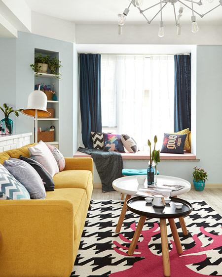北欧混搭风格客厅带飘窗设计