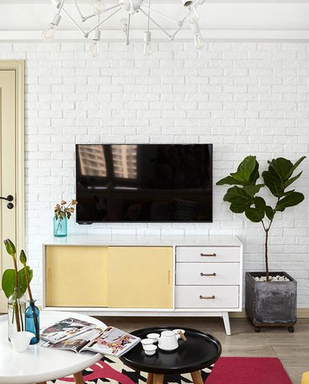 文艺北欧风客厅 文化砖电视背景墙设计